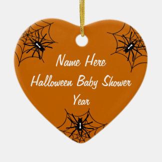 Halloween Baby Shower Heart Ornaments - Orange