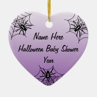 Halloween Baby Shower Heart Ornaments - Purple