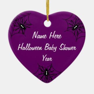Halloween Baby Shower Heart Ornaments - Purple