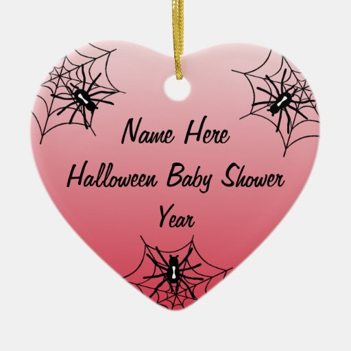 Halloween Baby Shower Heart Ornaments - Red