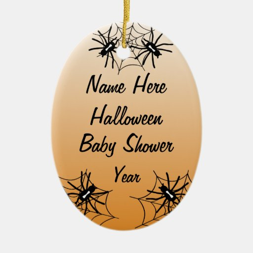 Halloween Baby Shower Oval Ornaments - Orange