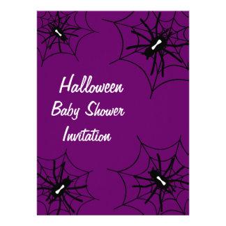 Halloween Baby Shower Spider Invitations - Purple
