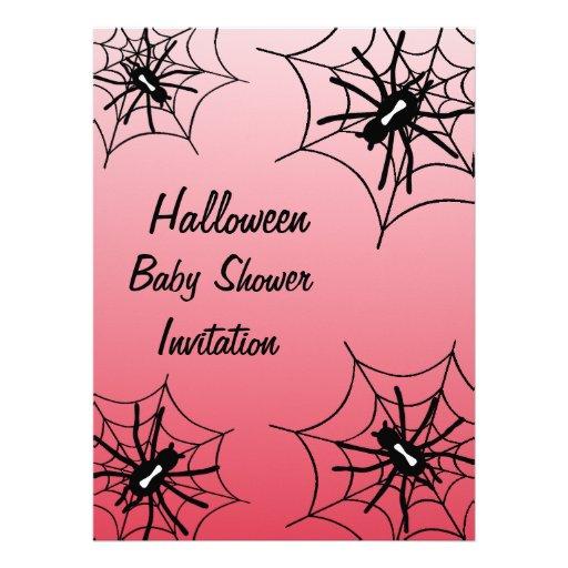 Halloween Baby Shower Spider Invitations - Red