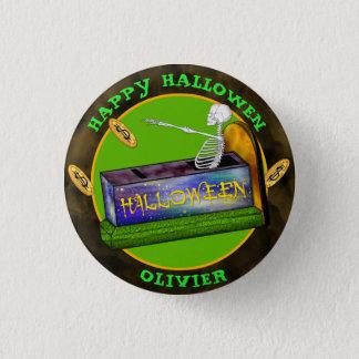 HALLOWEEN BANK CARTOON  Small, 1¼ Inch 3 Cm Round Badge