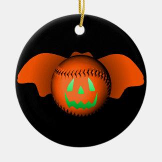 Halloween Baseball Bat Round Ceramic Decoration