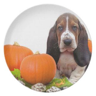 Halloween Basset Hound dinner plate
