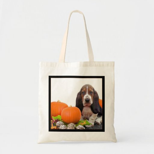 Halloween Basset Hound Tote Bag