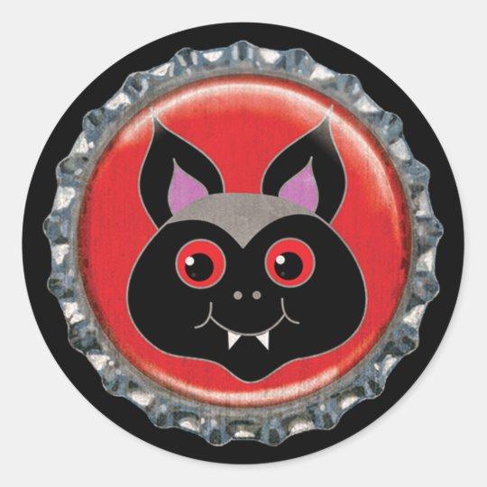 Halloween Bat Bottle Cap Classic Round Sticker