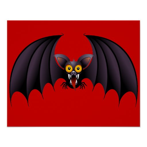 Halloween Bat Cartoon posters