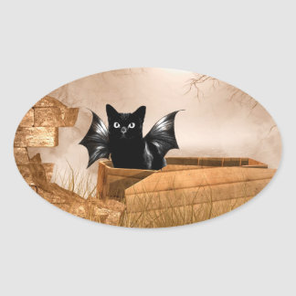 Halloween bat cat oval sticker