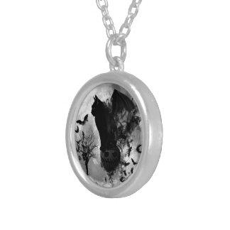 Halloween Bat Cat Silver Necklace