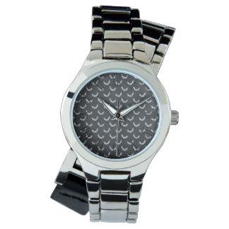 Halloween Bat Chalkboard Pattern Wristwatch
