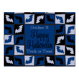 Halloween bat mosaic postcard