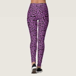 Halloween bat pattern leggings - purple and black