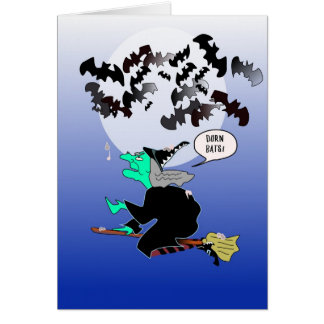 Halloween bat poop with witch greeting card