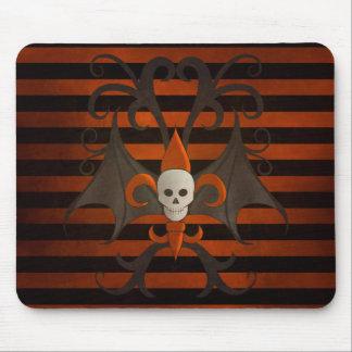 Halloween bat winged skull fleur de lis orange mouse pad