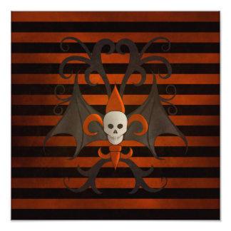 Halloween bat winged skull fleur de lis orange photographic print