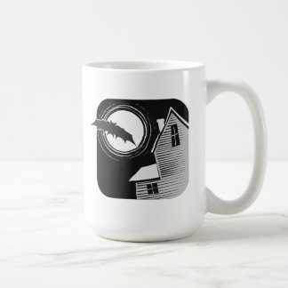 Halloween Bat with Haunted House Coffee Mug