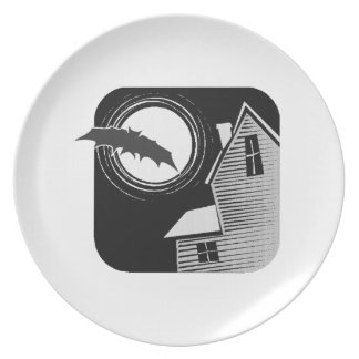 Halloween Bat with Haunted House Plates