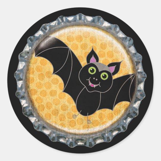 Halloween Bat with Moon Bottle Cap Classic Round Sticker