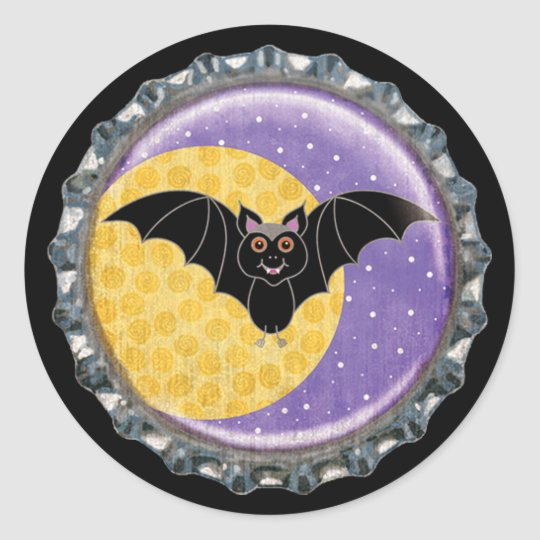 Halloween Bat with Moon Bottle Cap Classic Round Sticker