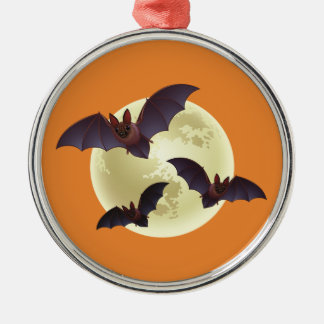 Halloween Bats and Moon Metal Ornament