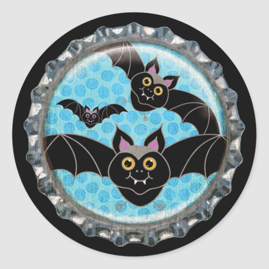 Halloween Bats Bottle Cap Classic Round Sticker