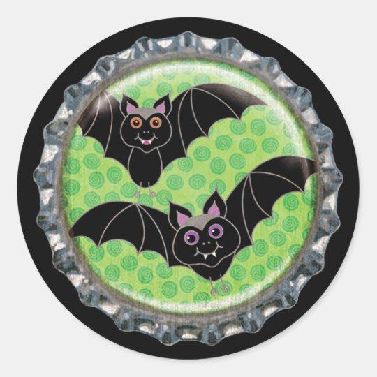 Halloween Bats Bottle Cap Classic Round Sticker