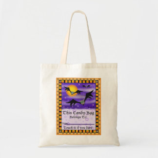 Halloween Bats Candy Tote Bag with Name Label