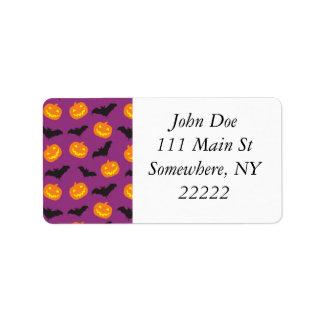 Halloween Bats & Carved Pumpkins on Purple Address Label