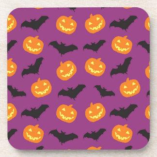 Halloween Bats & Carved Pumpkins on Purple Beverage Coaster