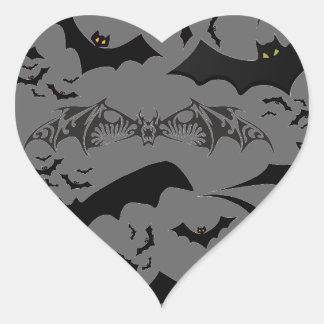 Halloween Bats Heart Sticker