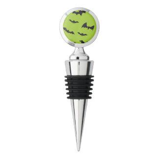 Halloween Bats on Lime Green Wine Stopper