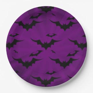 Halloween Bats on Purple Background Paper Plate