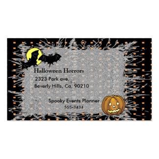 Halloween Bats & Pumpkin Moon Double-Sided Standard Business Cards (Pack Of 100)
