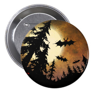 Halloween Bats, Spooky Forest at Full Moon 7.5 Cm Round Badge