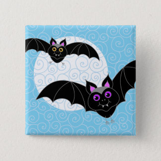 Halloween Bats with Moon 15 Cm Square Badge