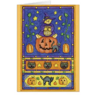 Halloween bear trick or treat card