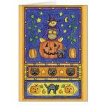 Halloween bear trick or treat greeting card