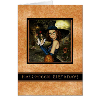 Halloween Birthday - Autumn Leaves Witch Card