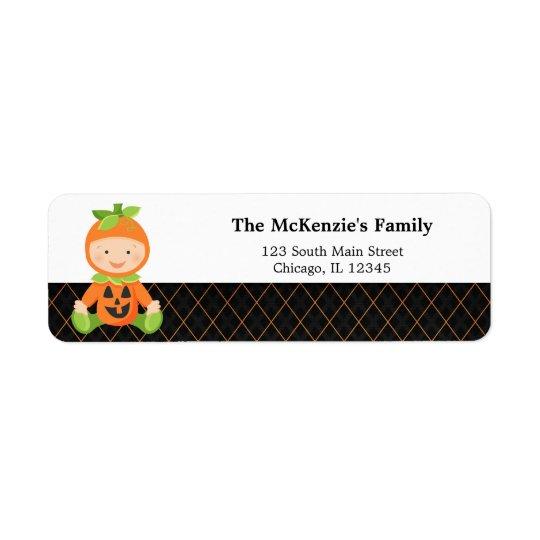 Halloween birthday costume return address label