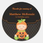 Halloween birthday costume round stickers