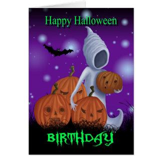 Halloween Birthday Ghost And Pumpkins Greeting Card