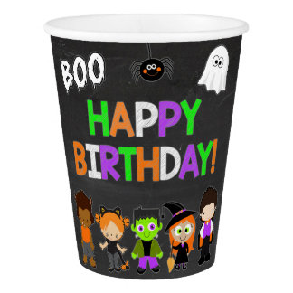 Halloween Birthday Party Paper Cups