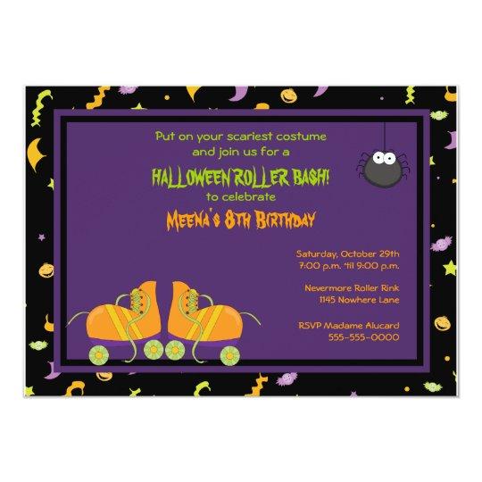 Halloween Birthday Roller Party Invitation
