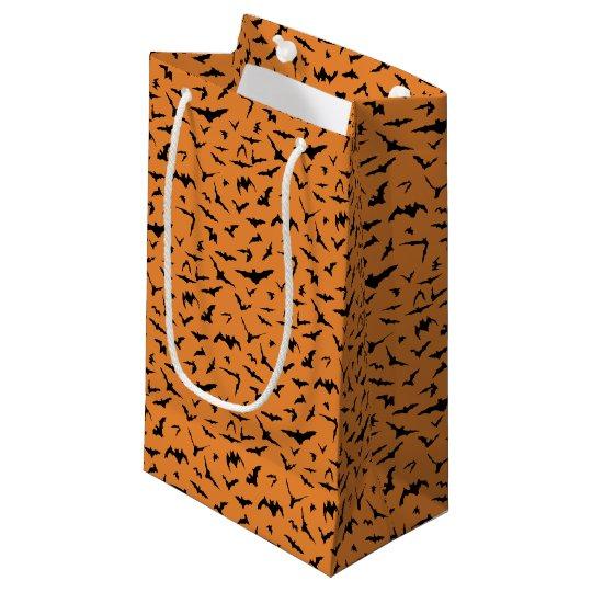 Halloween Black and Orange Bats Small Gift Bag