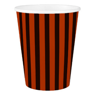 Halloween Black and Orange striped Paper Cup