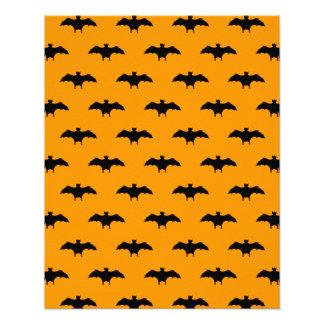 Halloween Black Bats Orange Background Bat Pattern Photo Print