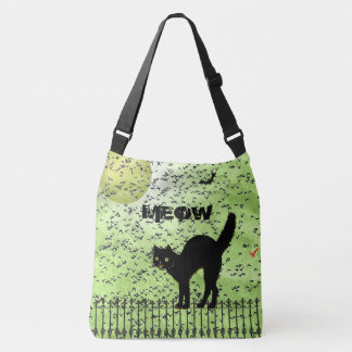 Halloween Black Cat and Birds on Green Grunge Tote Bag