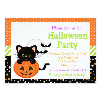Halloween Black Cat and Pumpkin Card